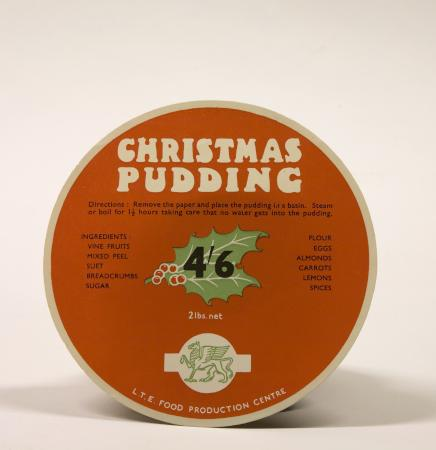 Food wrapper; 2lb Christmas pudding label 46,  issued by London Transport Catering, circa 1970