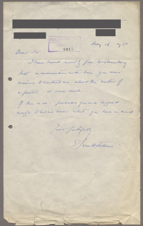 Related object: Letter; from Ivon Hitchins to Harold Hutchison about a poster design, 16 May 1950