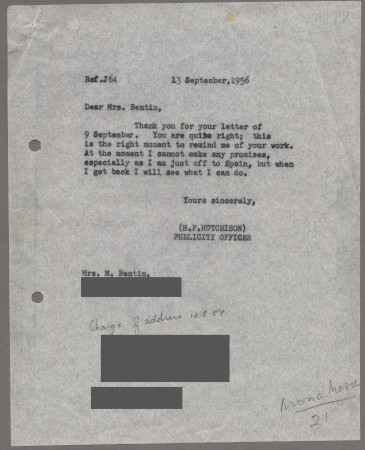 Related object: Letter; from Harold Hutchison to Mona Moore about her poster design, 13 September 1956