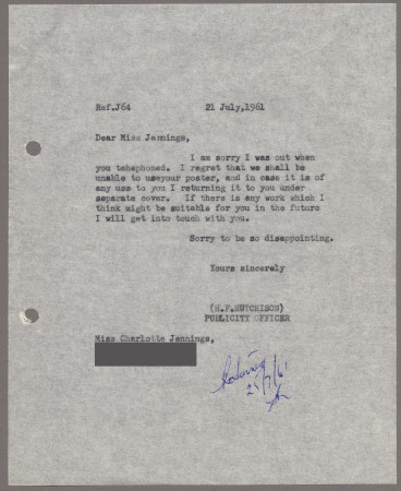 Related object: Letter; from Harold Hutchison to Charlotte Jennings about a poster design, 21 July 1961