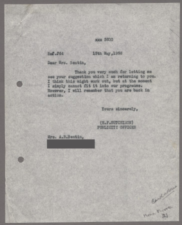 Related object: Letter; from Harold Hutchison to Mona Moore about her poster design, 15 May 1956