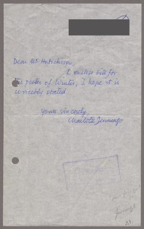 Related object: Letter; from Charlotte Jennings to Harold Hutchison about a poster design, 4 August 1960