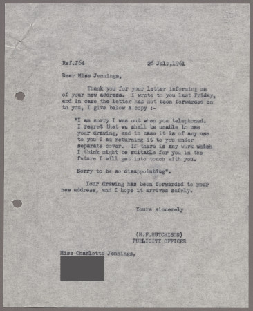 Related object: Letter; from Harold Hutchison to Charlotte Jennings about a poster design, 26 July 1961