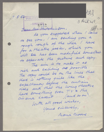 Related object: Letter; from Mona Moore to Harold Hutchison about a rough design for a theatre poster, 7 May 1956