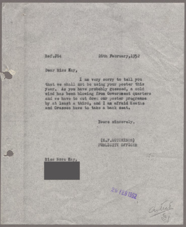 Related object: Letter; from Harold Hutchison to Nora Kay cancelling her poster design, 26 February 1952
