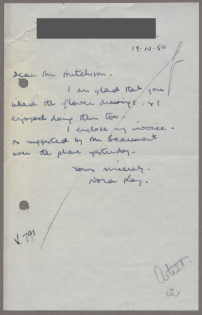 Related object: Letter; from Nora Kay to Harold Hutchison about her poster design, 19 April 1950