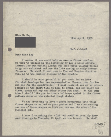 Related object: Letter; from Harold Hutchison to Nora Kay about a commission for a panel advertisement, 11 April 1950