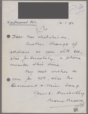 Related object: Letter; from Mona Moore to Harold Hutchison about change of address, 16 January 1950