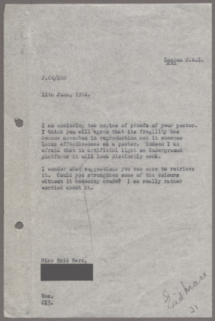 Related object: Letter; from Harold Hutchison to Enid Marx about her poster, 11 June 1964