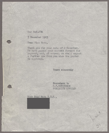 Related object: Letter; from Harold Hutchison to Enid Marx about her poster, 3 December 1963
