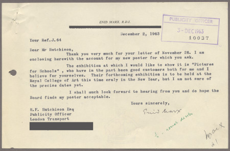 Related object: Letter; from Enid Marx to Harold Hutchison about displaying her poster at an exhibition, 2 December 1963