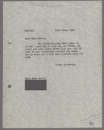 Related object: Letter; from Harold Hutchison to Mona Moore to re-arrange an appointment, 14 June 1949