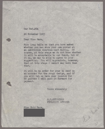 Related object: Letter; Harold Hutchison to Enid Marx about her poster, 26 November 1963