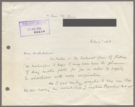 Related object: Letter; from Enid Marx to Harold Hutchison about copy of her poster as a press advertisement and enquiring about future work, 17 July 1958