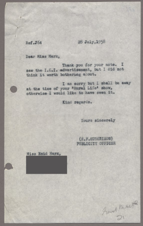 Related object: Letter; from Harold Hutchison to Enid Marx, 28 July 1958