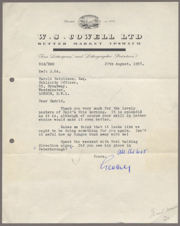 Related object: Letter; from W S Cowell Ltd to Harold Hutchison about Enid Marx