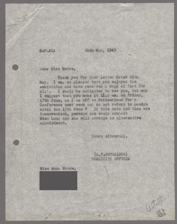 Related object: Letter; from Harold Hutchison to Mona Moore to arrange an appointment, 26 May 1949