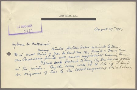 Related object: Letter; from Enid Marx to Harold Hutchison about her poster design, 27 August 1957