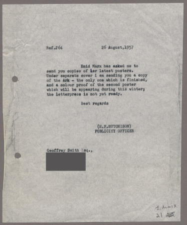 Related object: Letter; from Harold Hutchison to Geoffrey Smith about Enid Marx