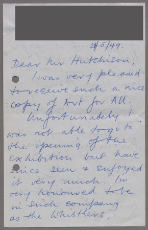Related object: Letter; from Mona Moore to Harold Hutchison about Art for All exhibition, 24 May 1949