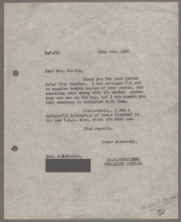 Related object: Letter; from Harold Hutchison to Mona Moore, 26 October 1948