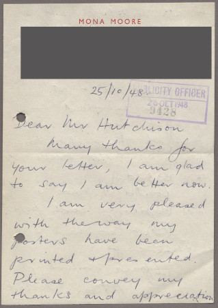Related object: Letter; from Mona Moore to Harold Hutchison, 25 October 1948