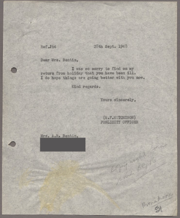 Related object: Letter; from Harold Hutchison to Mona Moore, 28 September 1948