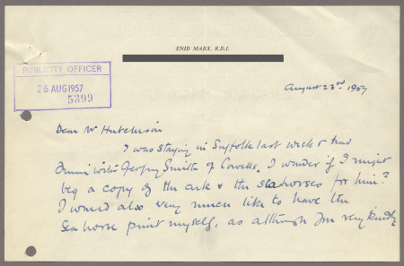 Related object: Letter; from Enid Marx to Harold Hutchison about her poster design, 23 August 1957