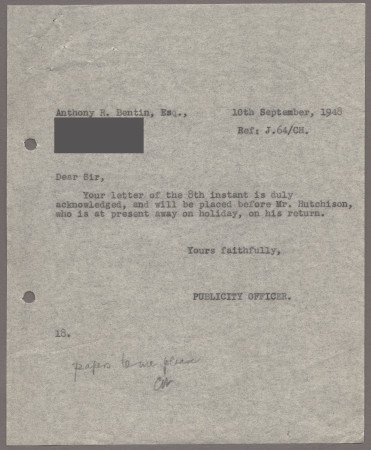 Related object: Letter; from an employee at the Publicity Office to Anthony Bentin acknowledging his letter, 10 September 1948