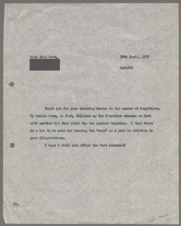 Related object: Letter; from Harold Hutchison to Enid Marx about her poster design, 29 April 1957