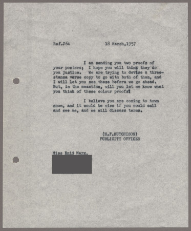 Related object: Letter; from Harold Hutchison to Enid Marx about her poster design, 18 March 1957