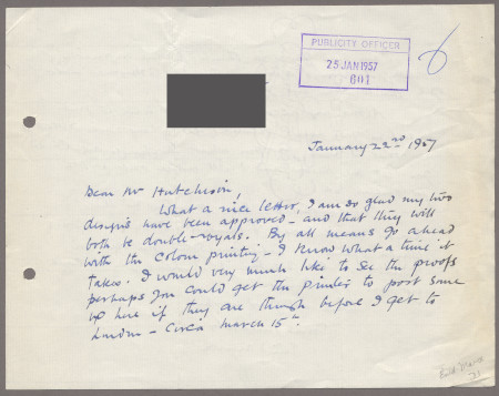 Related object: Letter; from Enid Marx to Harold Hutchison about her poster design, 22 January 1957