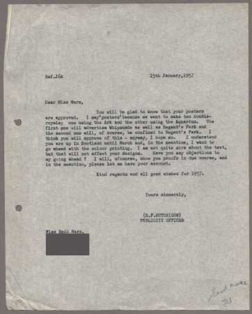 Related object: Letter; from Harold Hutchison to Enid Marx about her poster design, 15 January 1957