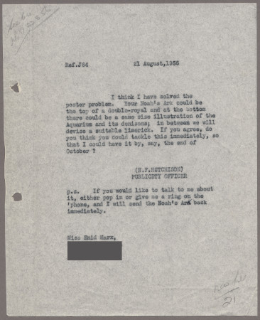 Related object: Letter; from Harold Hutchison to Enid Marx about her poster design, 21 August 1956