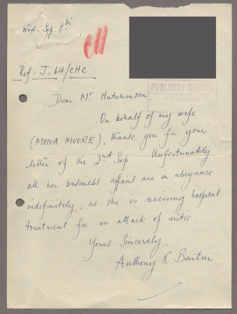 Related object: Letter; from Anthony Bentin to Harold Hutchison on behalf of his wife Mona Moore, 8 September 1948