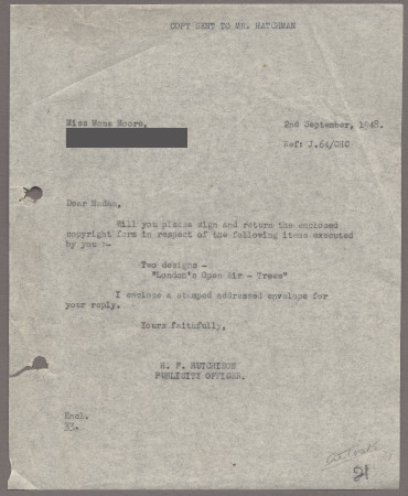 Related object: Letter; from Harold Hutchison to Mona Moore requesting a signature on a copyright form, 2 September 1948