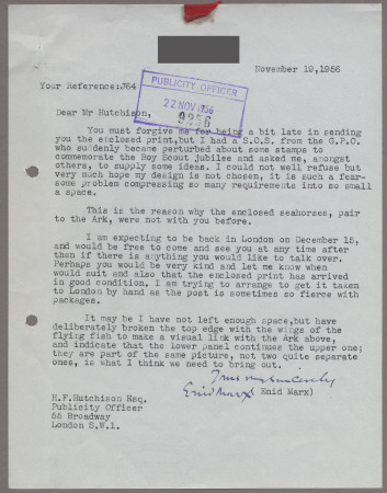 Related object: Letter; from Enid Marx to Harold Hutchison about her poster design, 19 November 1956