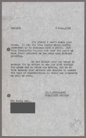 Related object: Letter; from Harold Hutchison to Pat Keely about printing of a poster, 6 June 1962