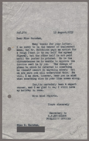 Related object: Letter; from Harold Hutchison