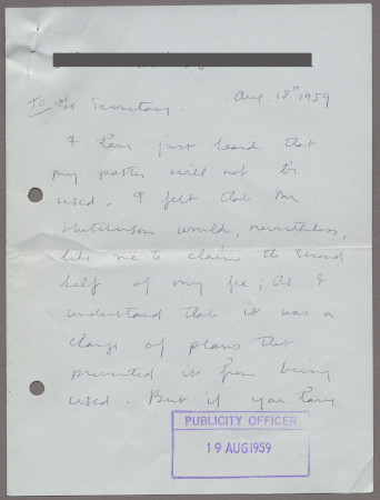 Related object: Letter; from Stella Marsden to Harold Hutchison