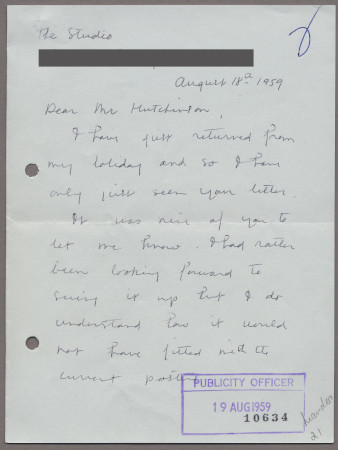 Related object: Letter; from Stella Marsden to Harold Hutchison about cancellation of her poster design, 18 August 1959