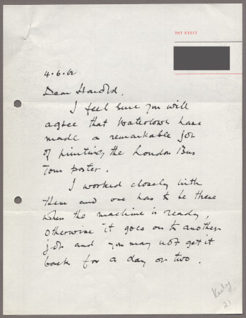 Related object: Letter; from Pat Keely to Harold Hutchison about his poster, 4 June 1962