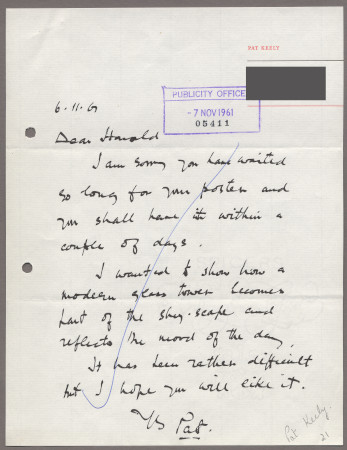 Related object: Letter; from Pat Keely to Harold Hutchison about his poster, 6 November 1961