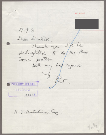Related object: Letter; from Pat Keely to Harold Hutchison about his poster, 17 September 1961