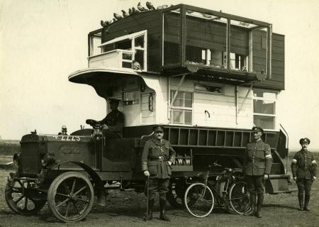 Related object: B/W print; LGOC bus converted into pigeon loft, 1914 - 1918