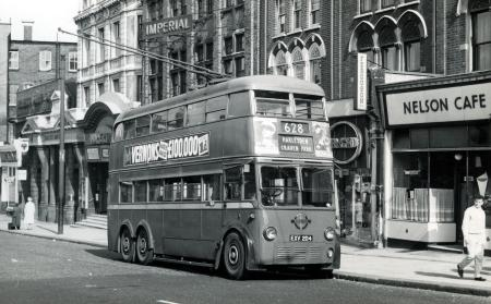 B/w print; a k2 class trolleybus, registration number exv 204, seen on route 628 for harlesden by j h aston, 17 jul 1960