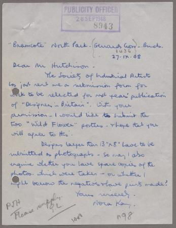 Related object: Letter; from Nora Kay to Harold Hutchison about an exhibition of her posters, 27 September 1948