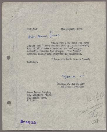 Related object: Letter; from Harold Hutchison to Laura Knight re poster designs, 5 August 1954