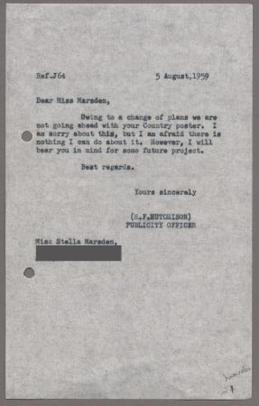 Related object: Letter; from Harold Hutchison to Stella Marsden about cancellation of her poster, 5 August 1959