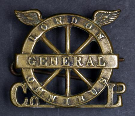 Cap badge; London General Omnibus Company winged-wheel, issued to bus crews, 1910-1914
